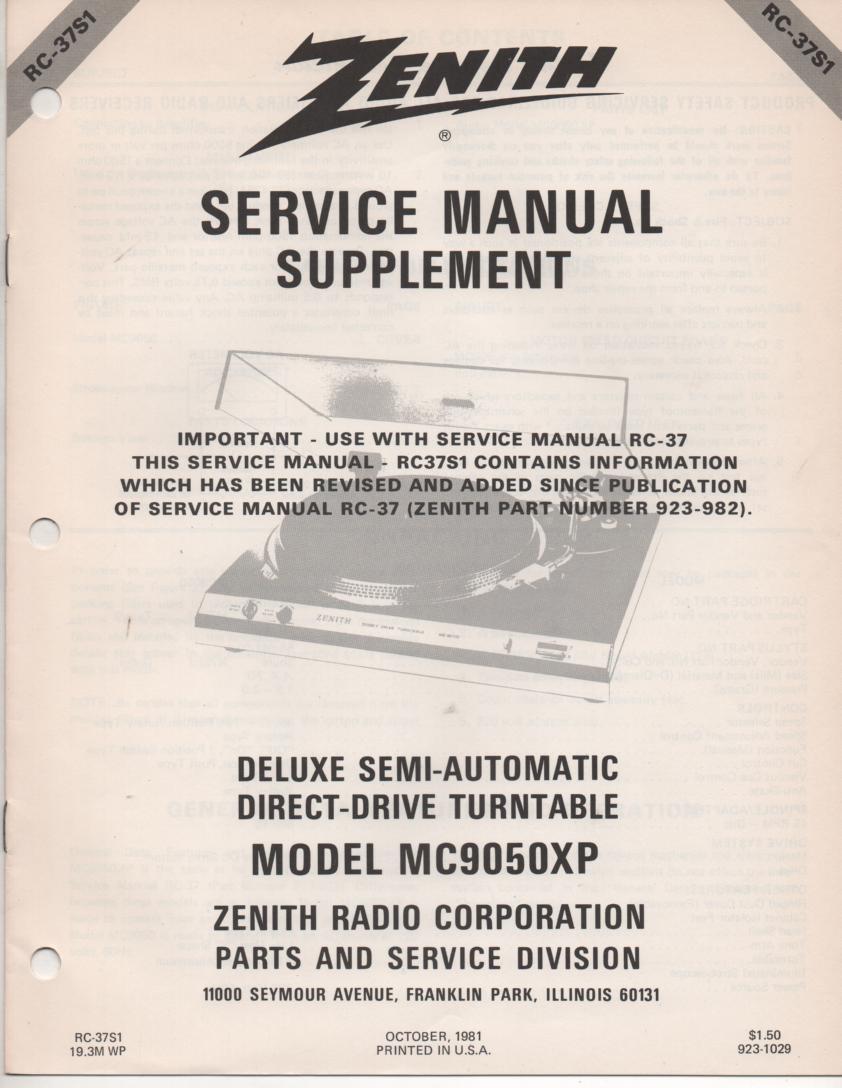 MC9050XP Turntable Service Manual RC-37S1 January 1982