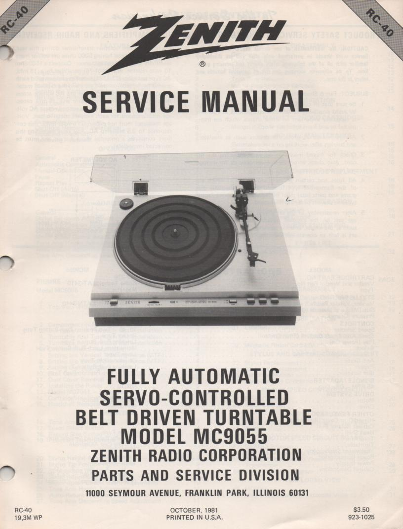 MC9055 Turntable Service Manual. RC40