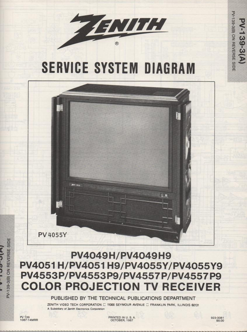 PV4051H9 TV Schematic .. PV4049H Manual