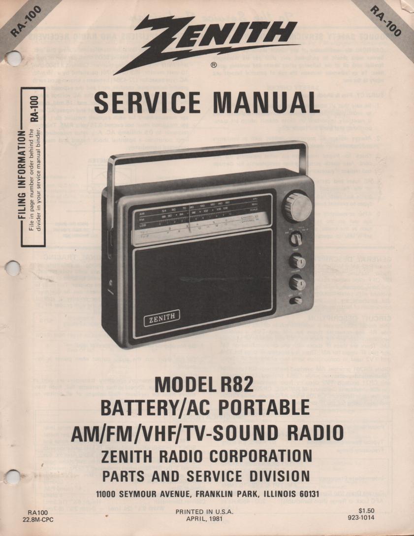 R82 AM FM TV Radio Service Manual RA100