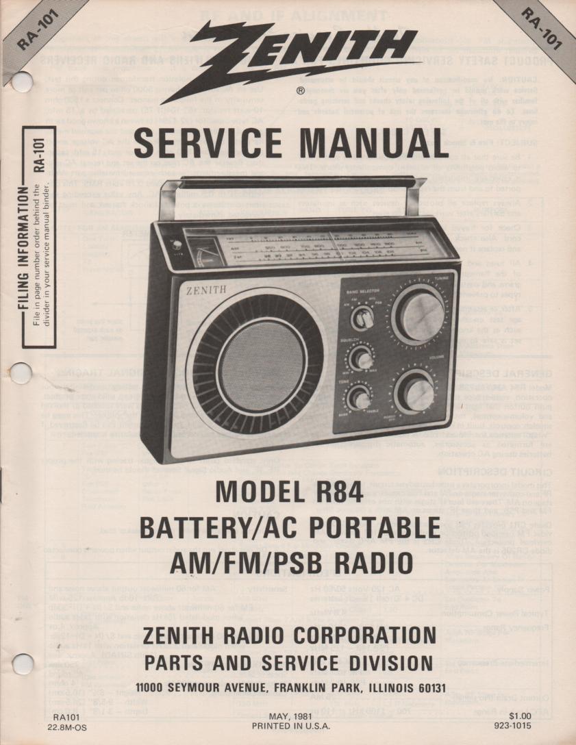 R84 AM FM Public Safety Radio Service Manual RA101