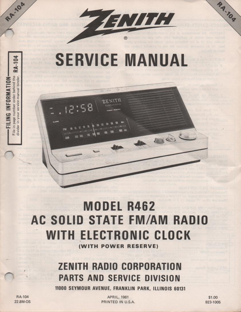 R462 AM FM Clock Radio Service Manual RA104