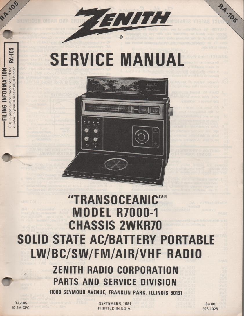 R7000-1 TransOceanic Multi Band Radio Service Manual RA1052... ChassisWRK70