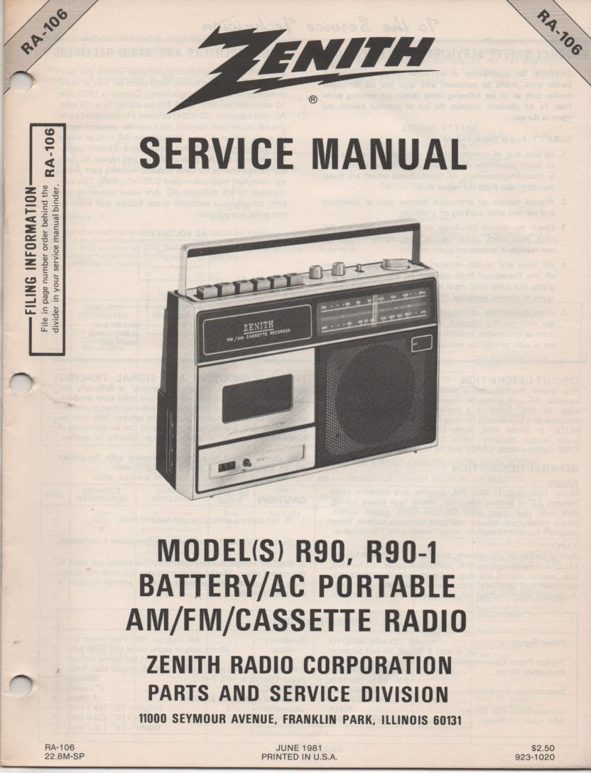 R90 R90-1 AM FM Radio Cassette Service Manual RA106
