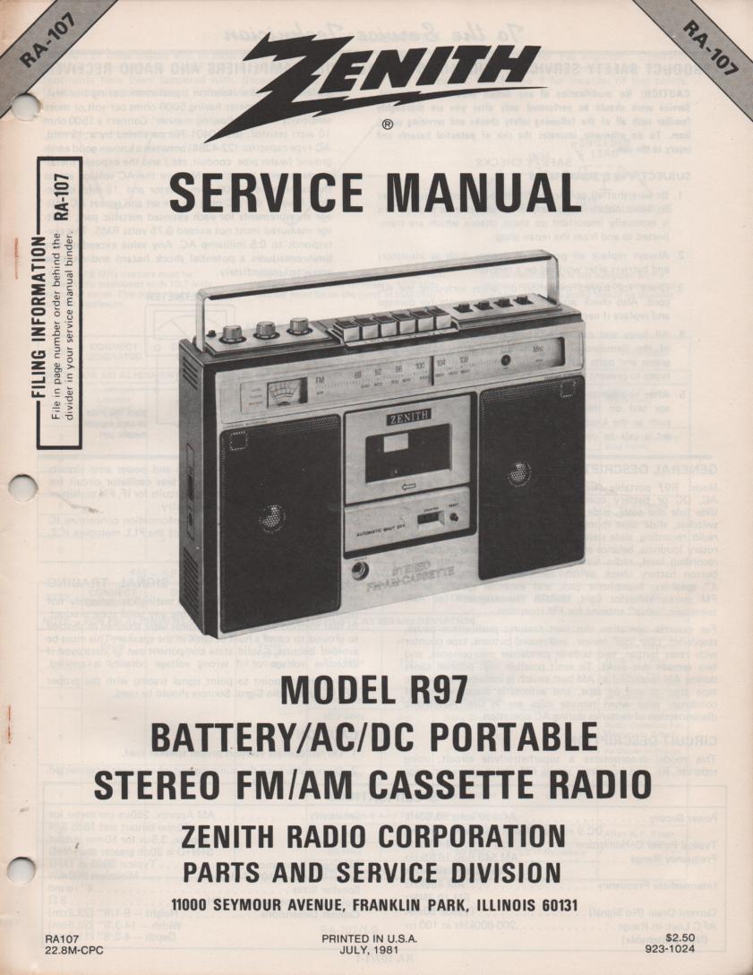 R97 AM FM Radio Cassette Service Manual RA107