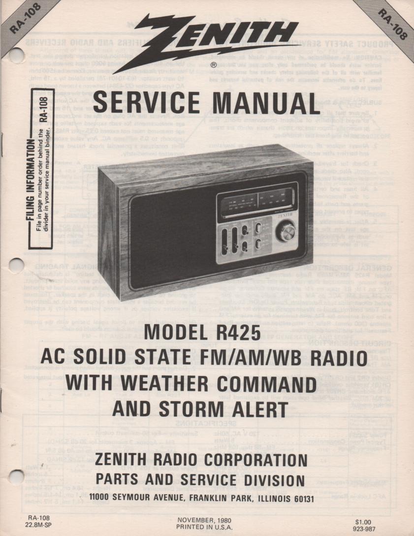 R425 AM FM Weather Radio Service Manual RA108
