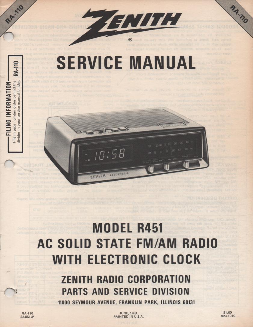 R451 AM FM Radio Service Manual RA110