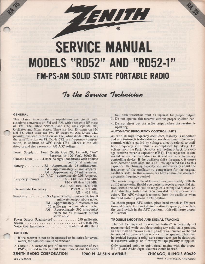 RC52 AM FM Public Safety Radio Service Manual RA35