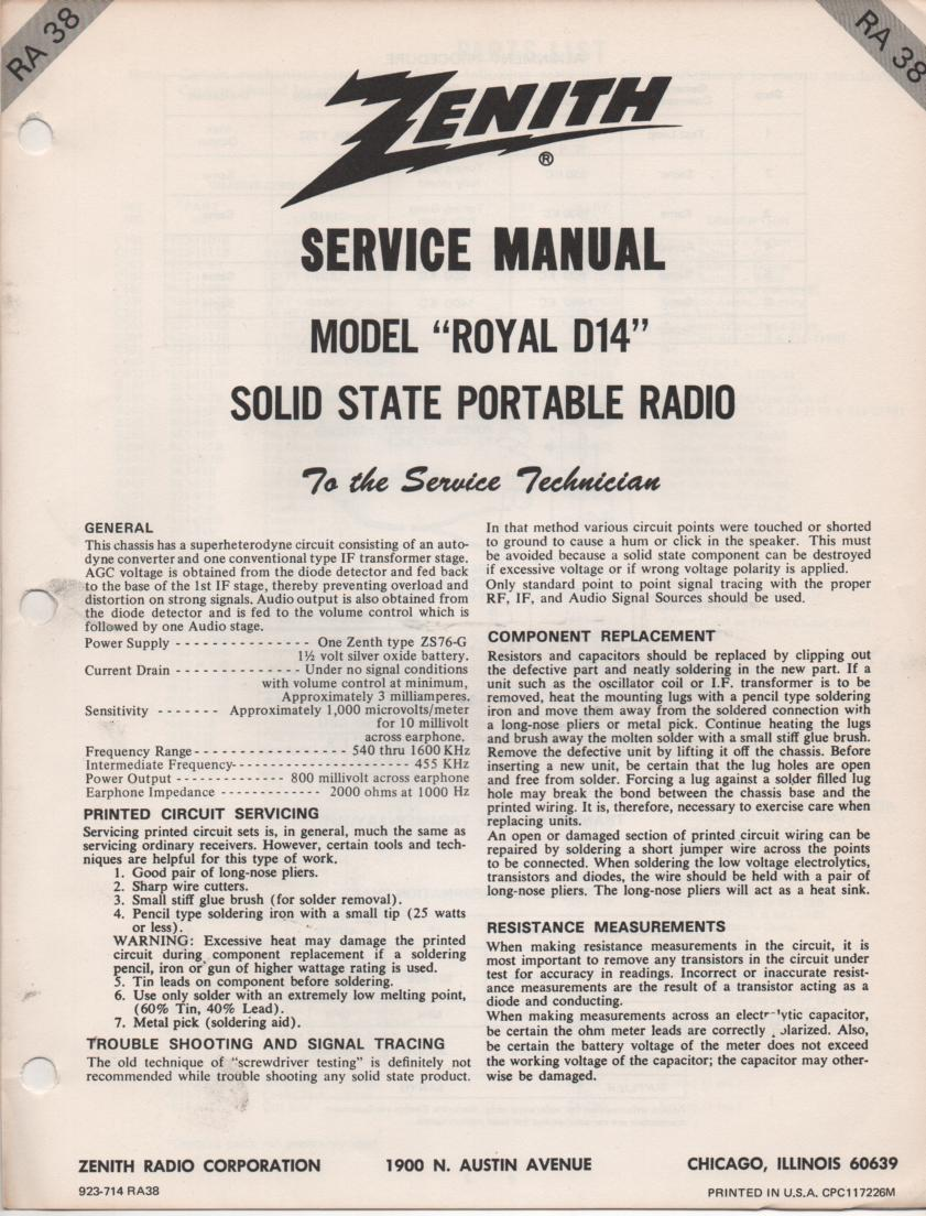 D14 Royal D14 Portable Radio Service Manual RA38