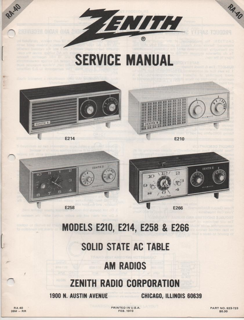 E210 E214 E258 E266 Table Radio Service Manual RA40