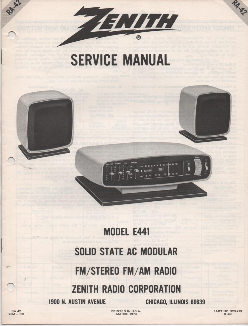 E441 AM FM Table Radio Service Manual RA42