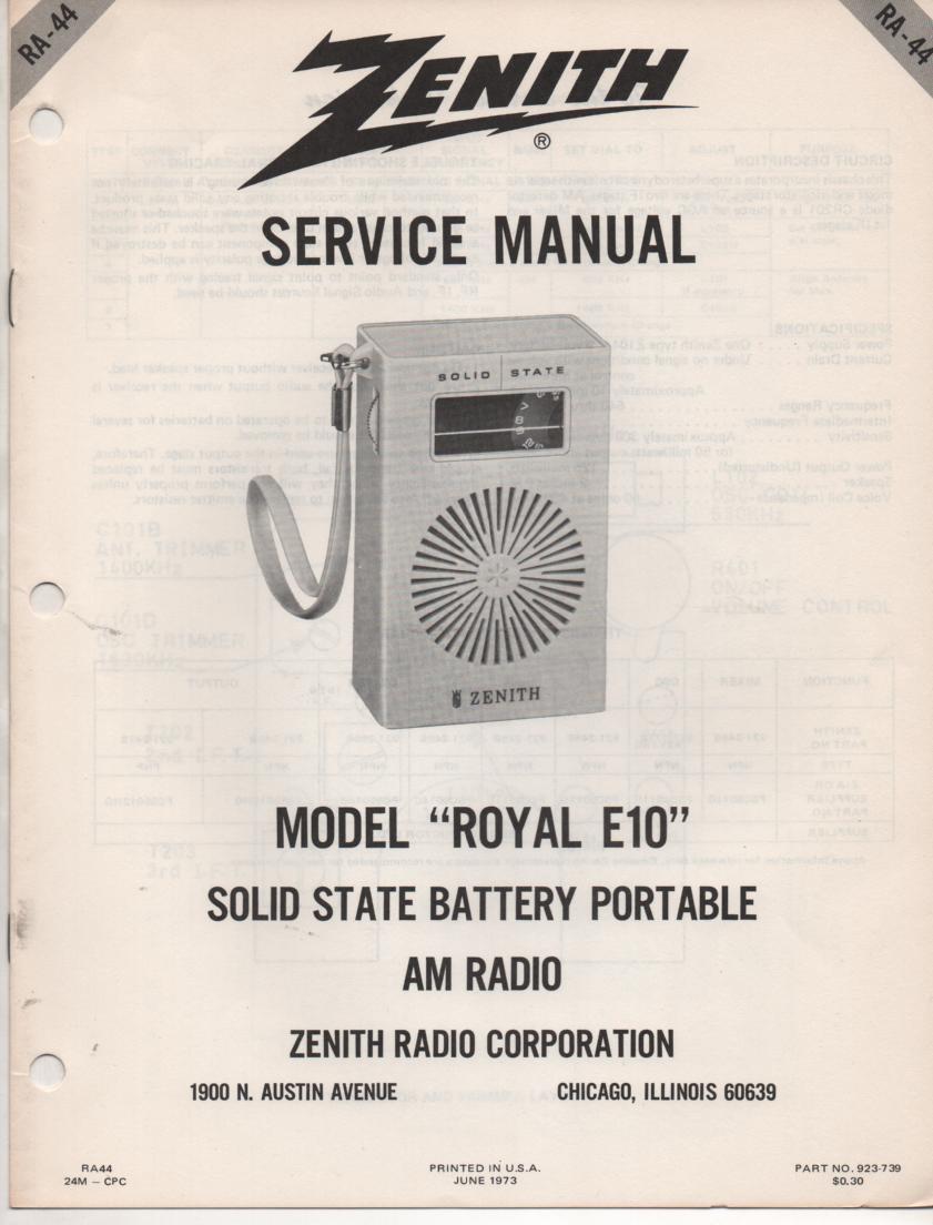 E10 Royal E10 Portable Radio Service Manual RA44.
