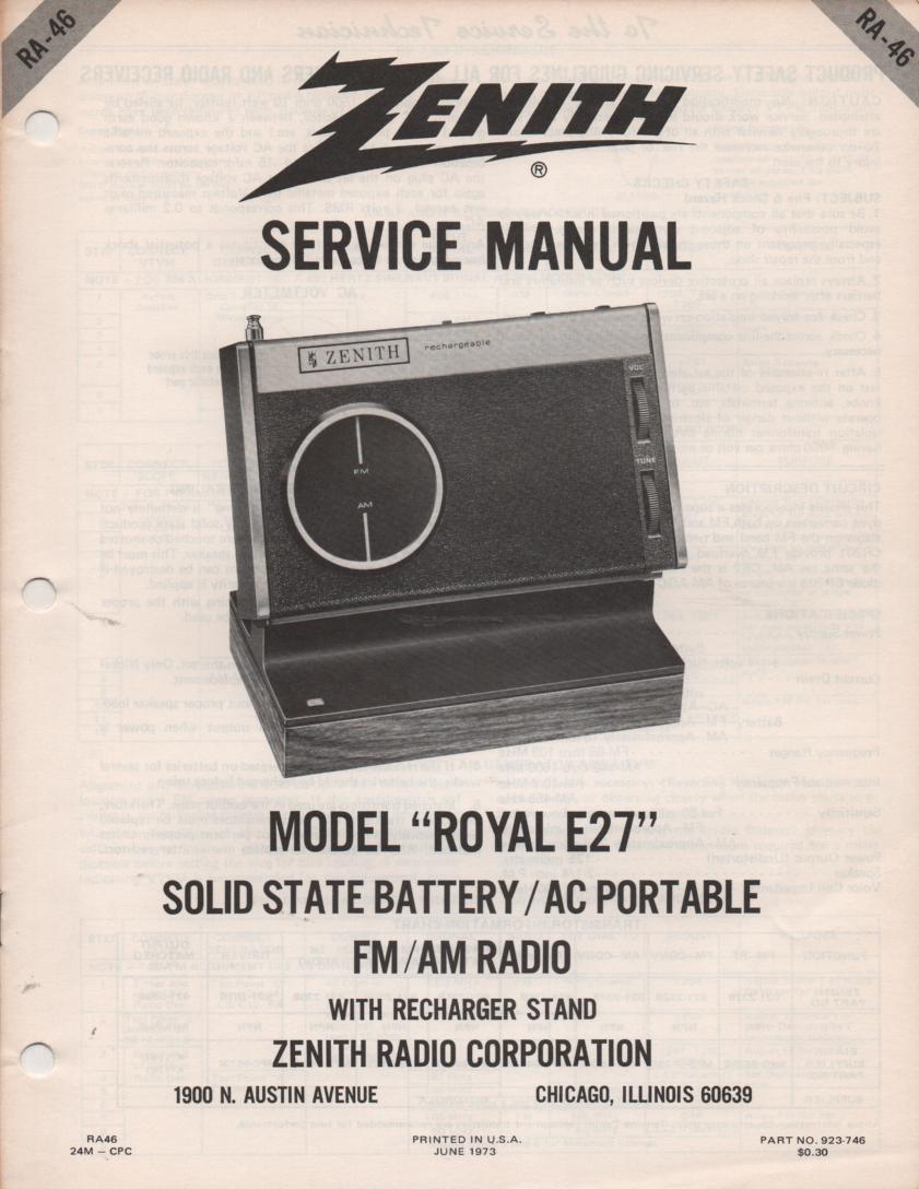 E27 Royal E27 Portable Radio Service Manual RA46