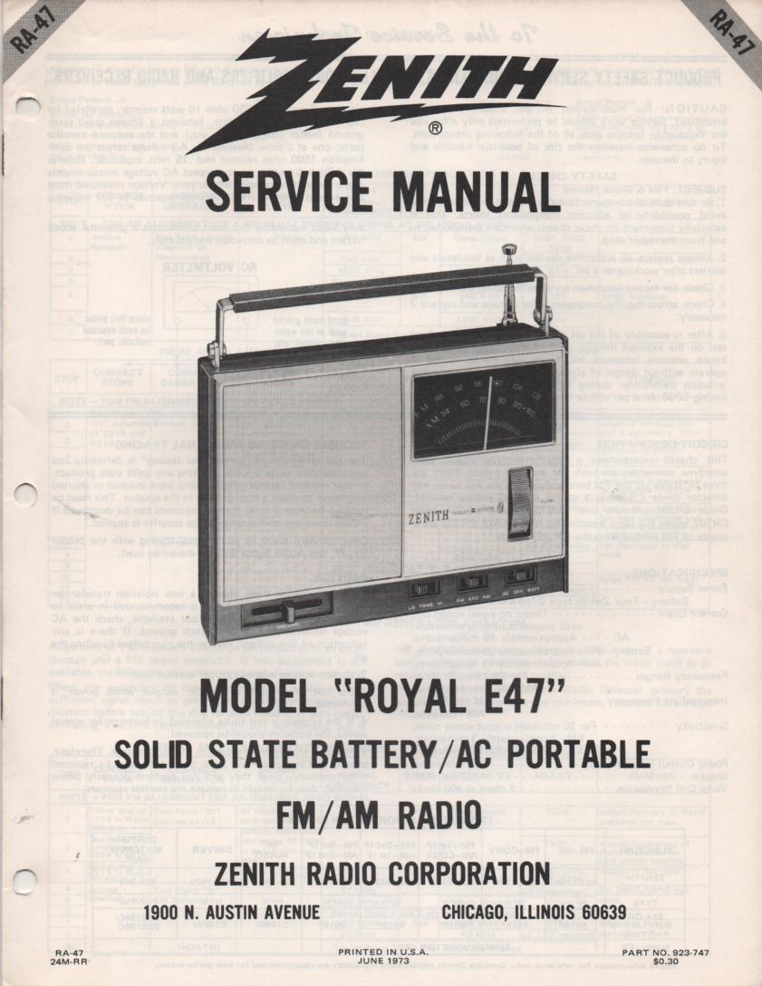 E47 Royal E47 Portable Radio Service Manual RA47