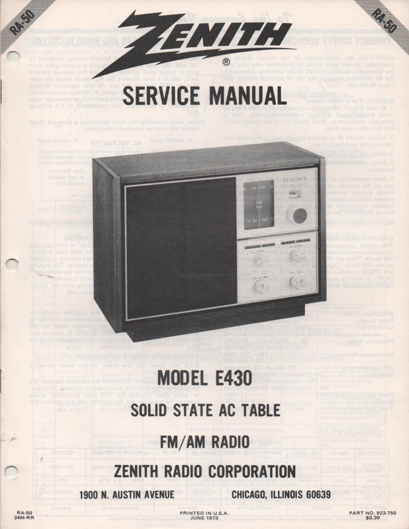 E430 AM FM Table Radio Service Manual RA50