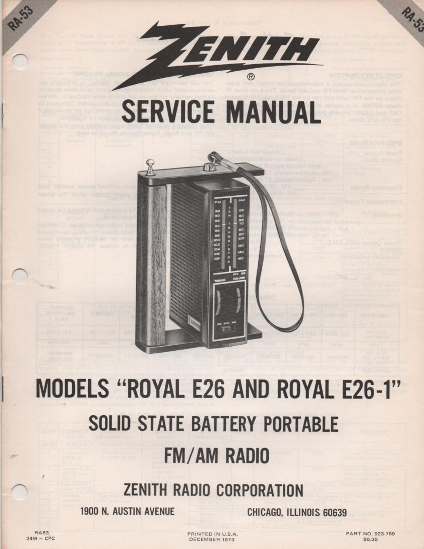 E26 E26-1 Portable Radio Service Manual RA53.