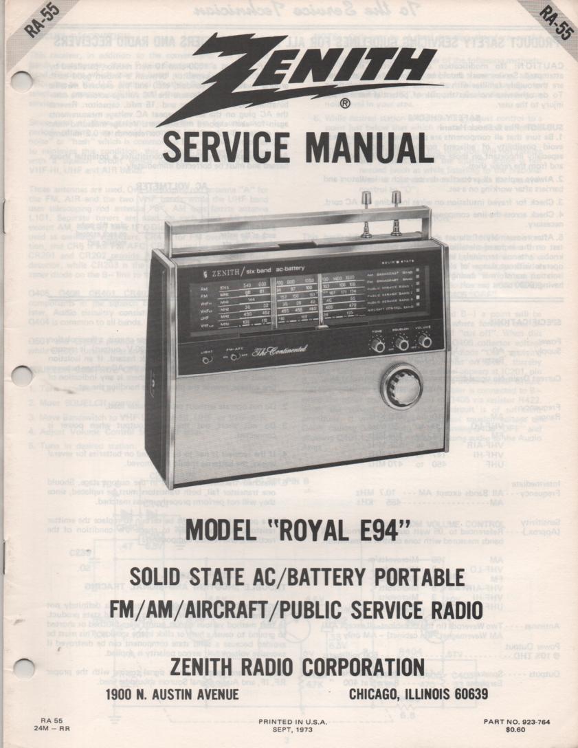 E94 Royal E94 Portable Radio Service Manual RA55