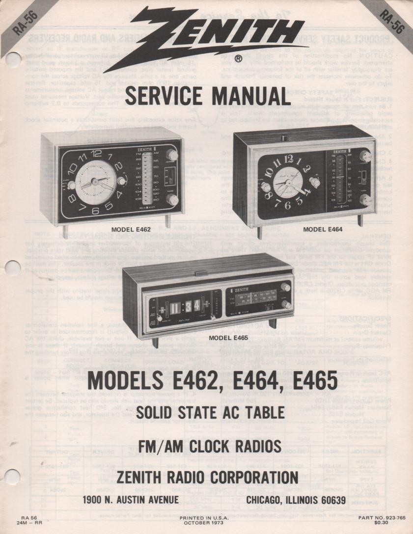 E462 E464 E465 Table Radio Service Manual RA56