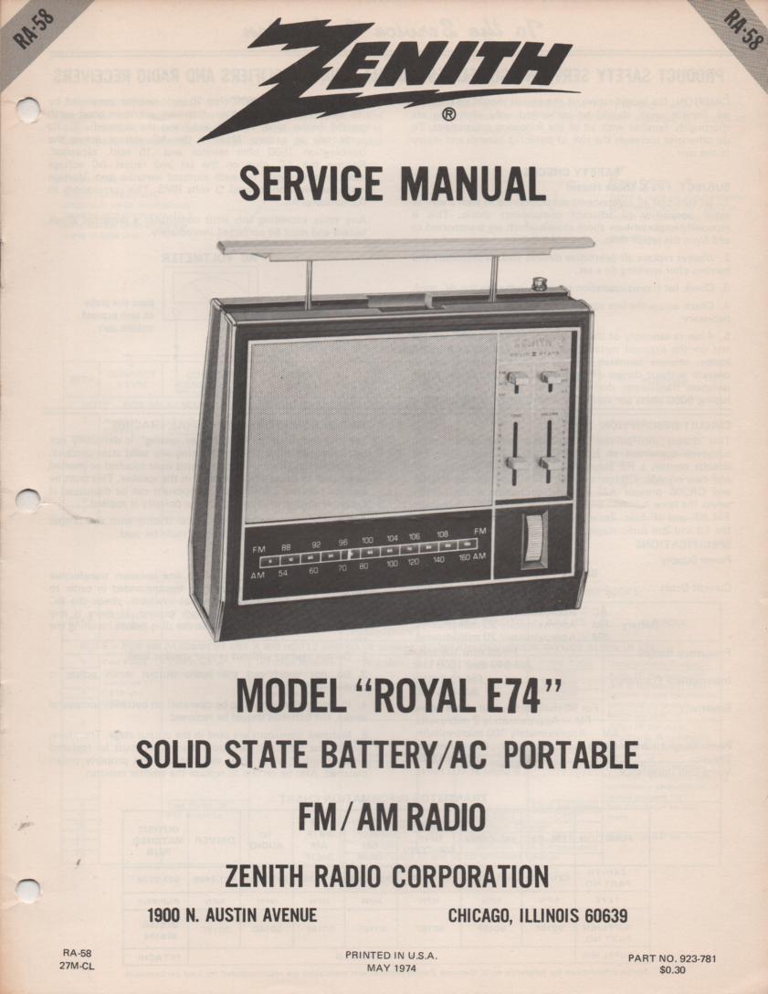 E74 Royal E74 Portable Radio Service Manual RA58