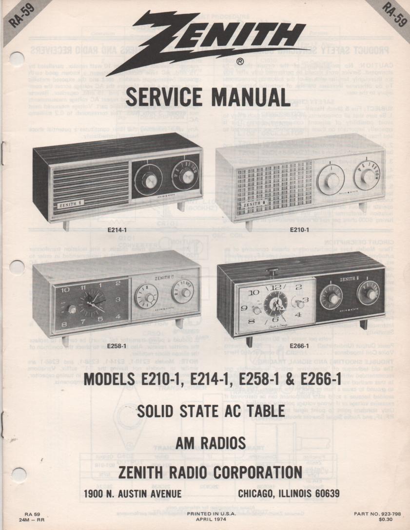 E210-1 E214-1 E258-1 E266-1 Table Radio Service Manual RA59