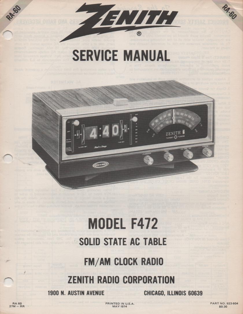 F472 AM FM Clock Radio Service Manual RA60