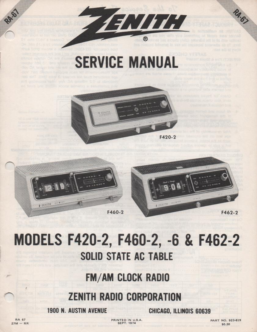 F420-2 F460-2 F460-6 F462-2 Clock Radio Service Manual RA67