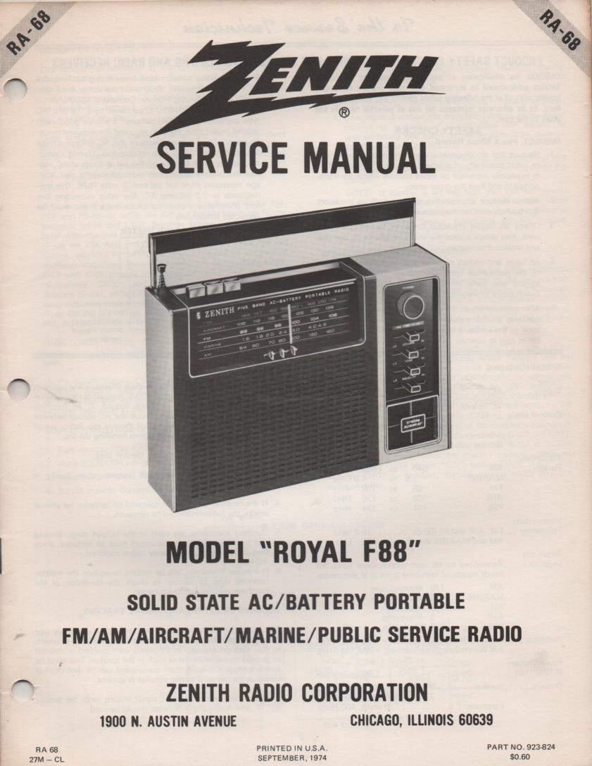 F88 Royal F88 Multi-Band Radio Service Manual RA68