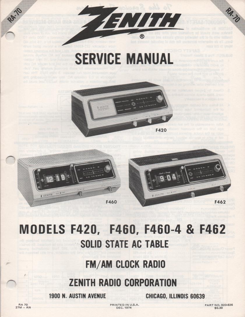 F420 F460 F460-4 F462 Clock Radio Service Manual RA70