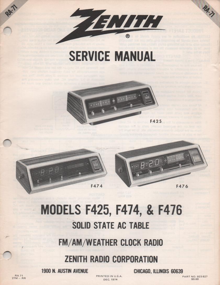 F425 F474 F476 Clock Radio Service Manual RA71