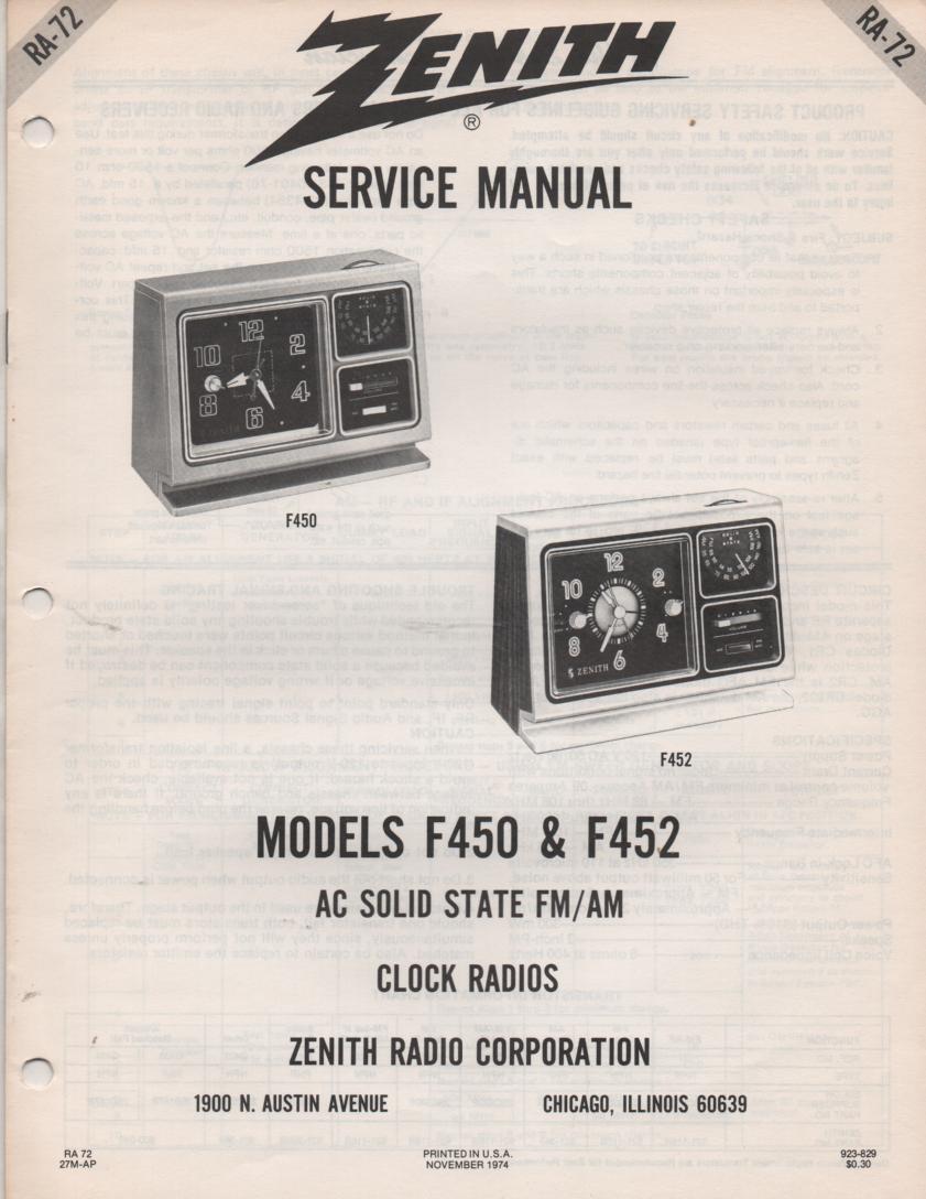 F450 F452 F476 AM FM Clock Radio Service Manual RA72