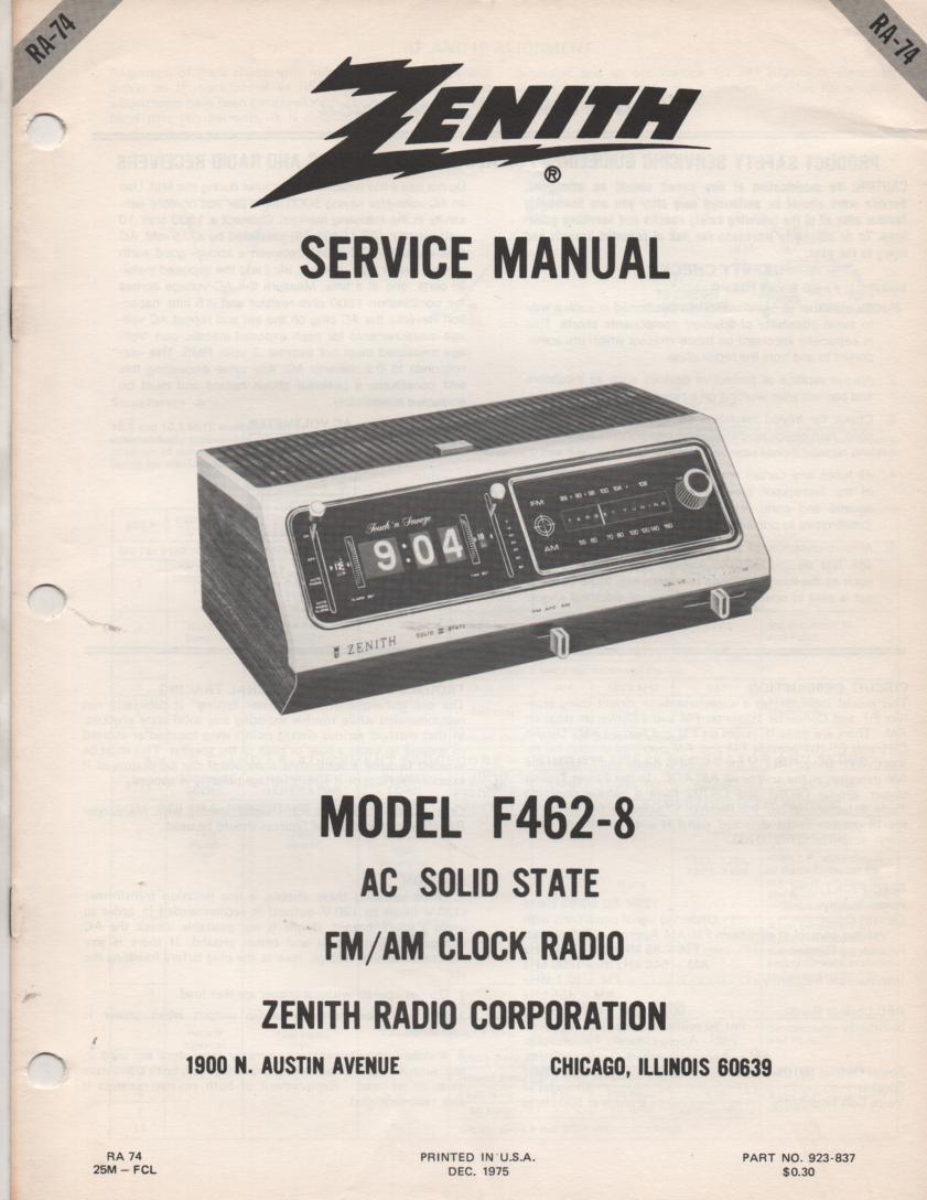 F462-8 AM FM Clock Radio Service Manual RA74