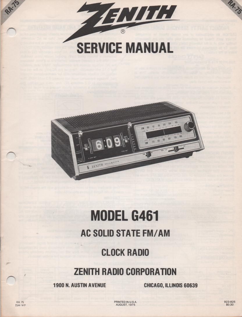 G461 AM FM Clock Radio Service Manual RA75