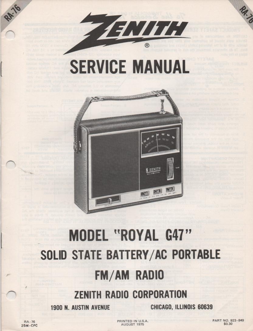 G47 Royal G47 AM FM Clock Radio Service Manual RA76