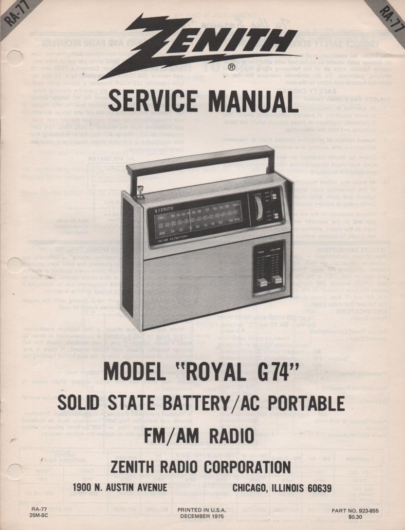 G74 Royal G74 AM FM Clock Radio Service Manual RA77