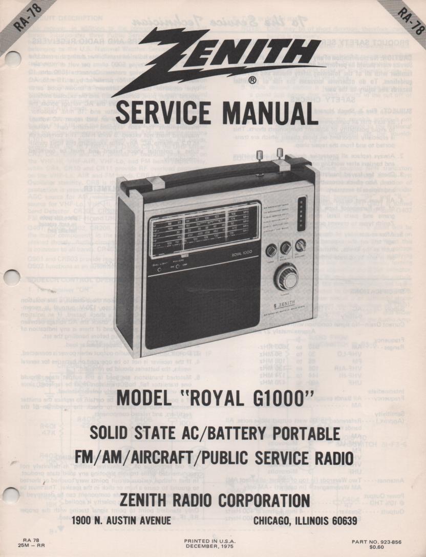 G1000 Royal G1000 Multi-Band Radio Service Manual RA78