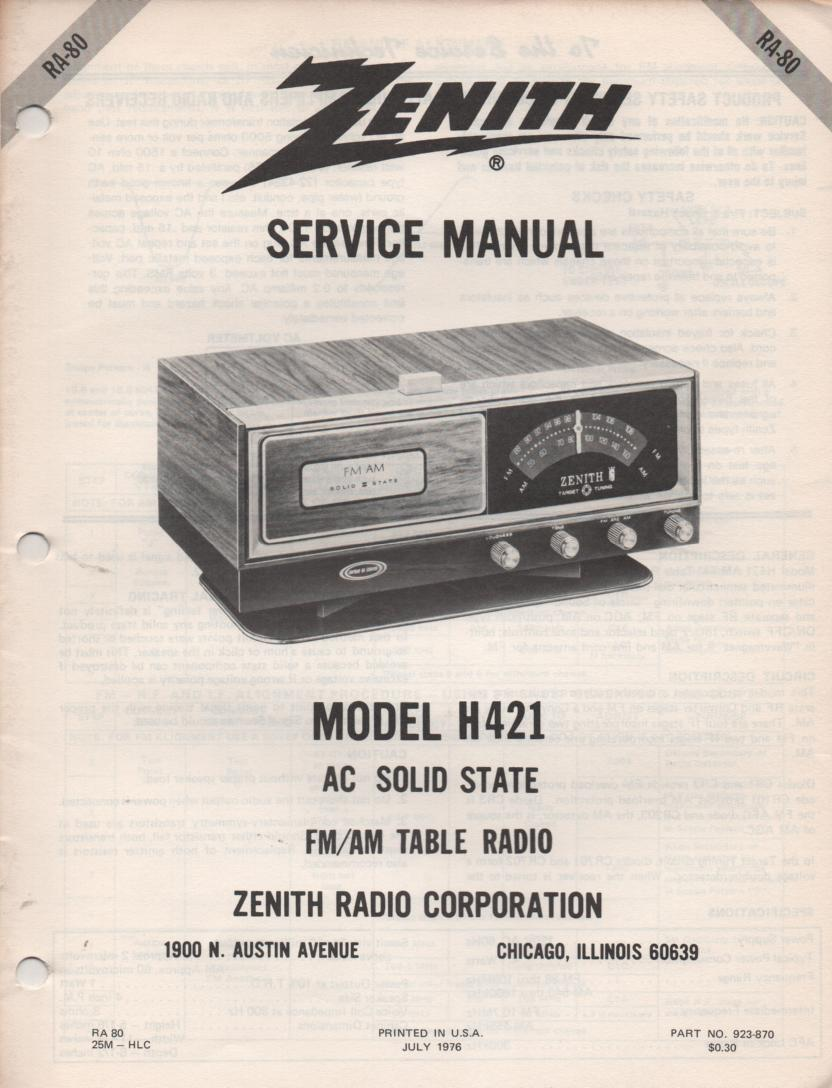 H421 AM FM Table Radio Service Manual RA80