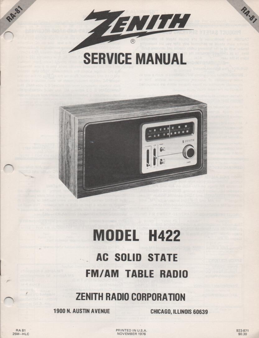 H422 AM FM Table Radio Service Manual RA81
