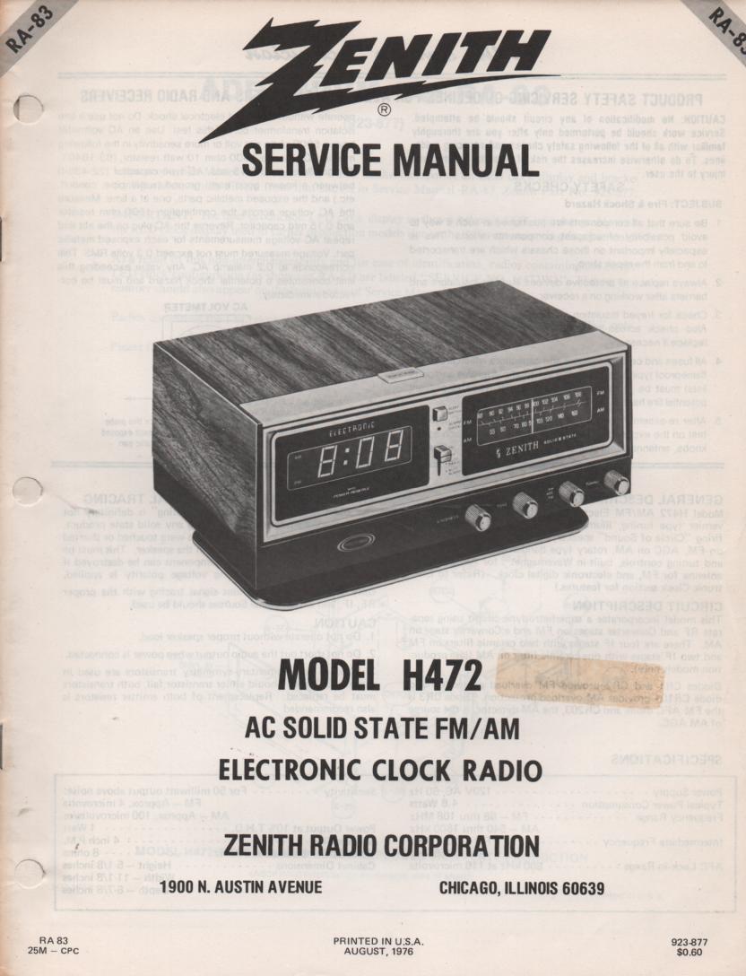H472 AM FM Table Radio Service Manual RA83