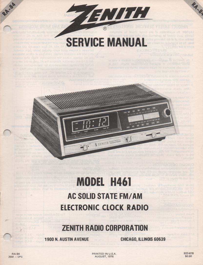 H461 AM FM Table Radio Service Manual RA84