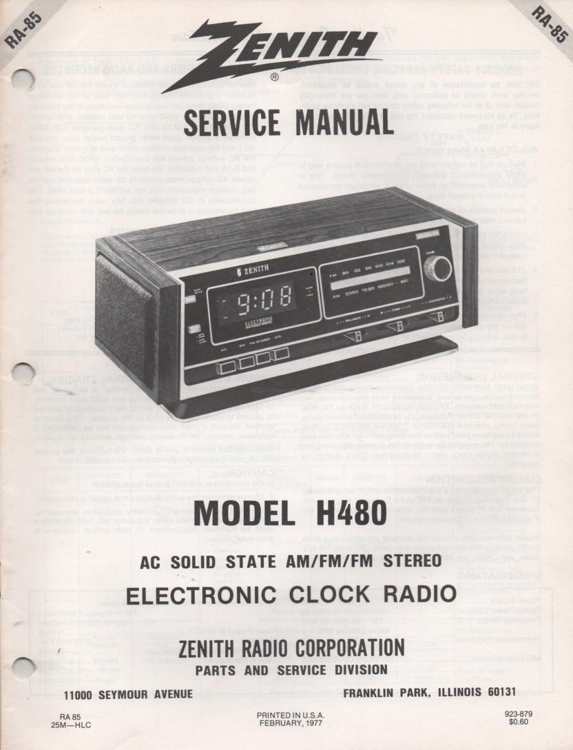 H480 AM FM Table Radio Service Manual RA85