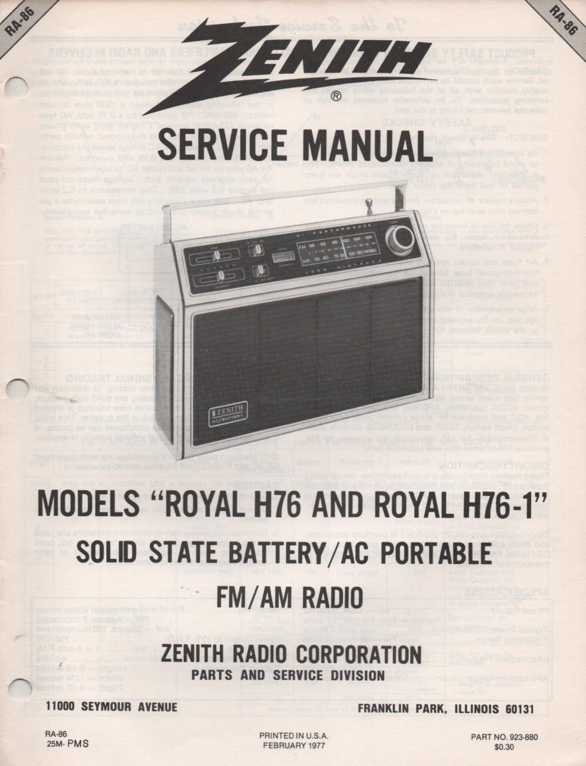 H76 H76-1 Royal H76 H76-1 AM FM Radio Service Manual RA86