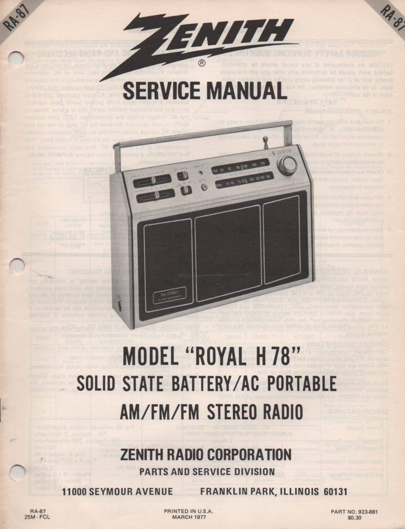 H78 Royal H78 AM FM Radio Service Manual RA87