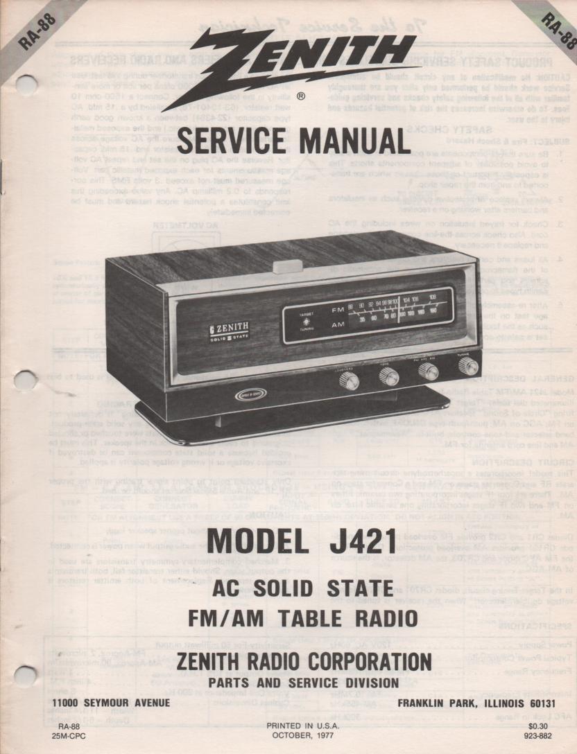J421 AM FM Table Radio Service Manual RA88