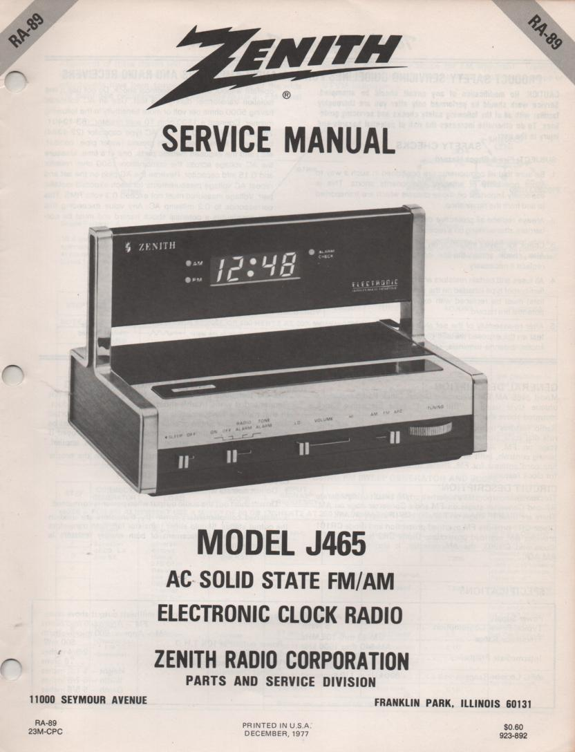 J465 AM FM Table Radio Service Manual RA89