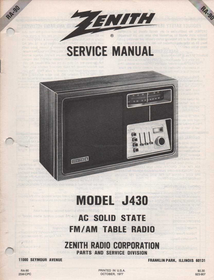 J430 AM FM Table Radio Service Manual RA90