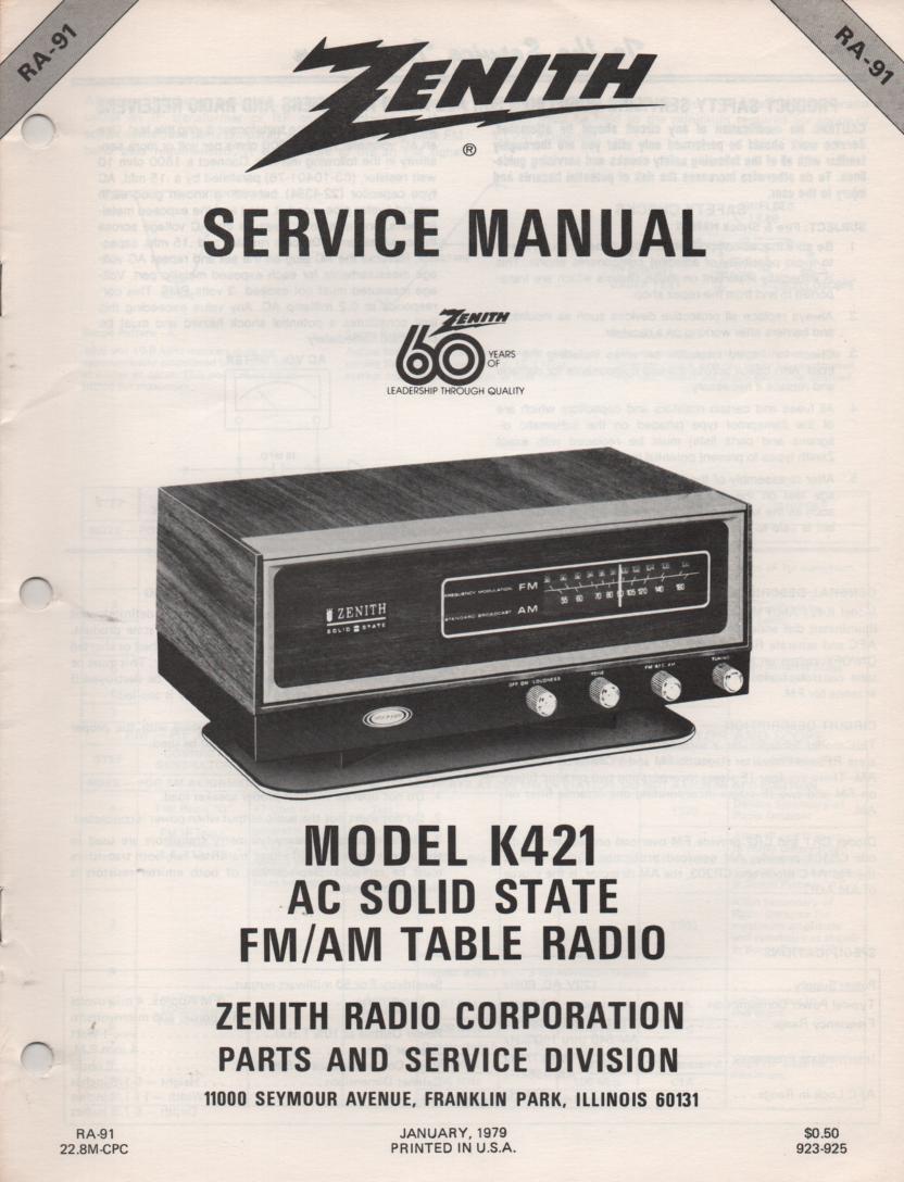 K421 AM FM Table Radio Service Manual RA91