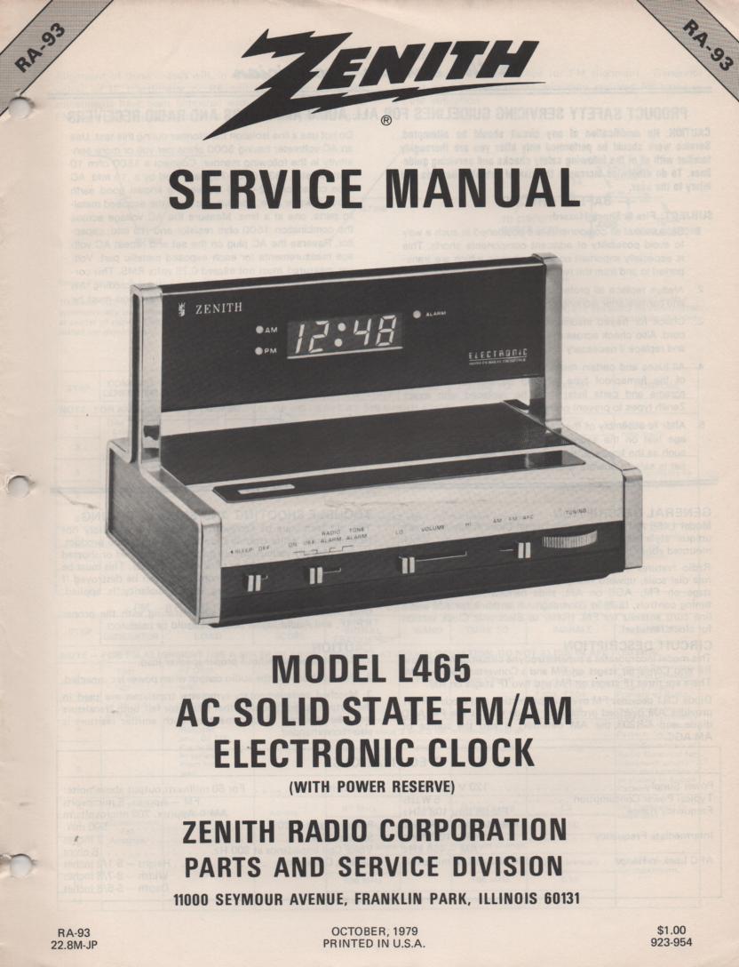 L465 AM FM Table Clock Radio Service Manual RA93