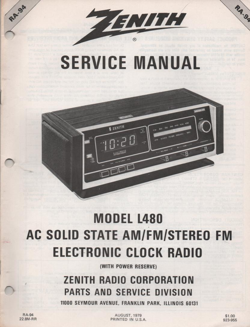 L480 AM FM Table Clock Radio Service Manual RA94