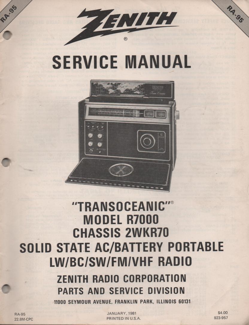 R7000 TransOceanic Multi Band Radio Service Manual RA95.. Chassis 2WRK70