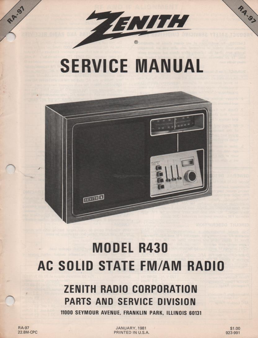 R430 AM FM Table Radio Service Manual RA97